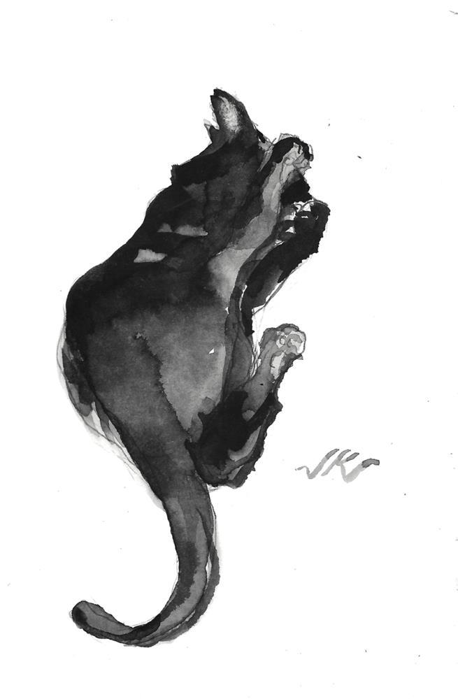 """Daily cat 118"" original fine art by Jean Krueger"