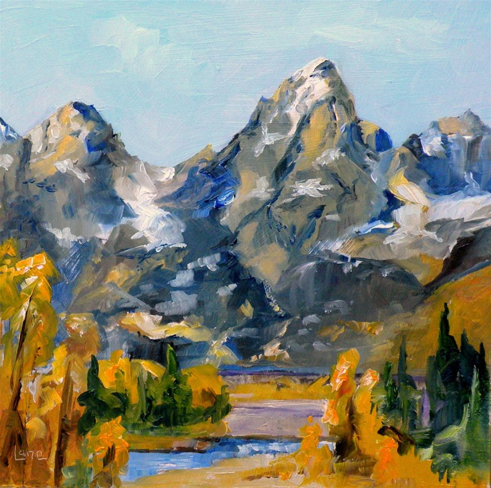 """MT. MORAN AND GRAND TETONS BOTH ORIGINAL OILS OF SUMMITS IN THE GRAND TETON NATIONAL PARK ©"" original fine art by Saundra Lane Galloway"