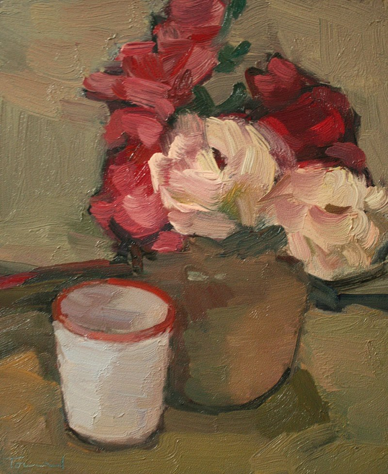 """""""Roses with Cup"""" original fine art by Kathryn Townsend"""