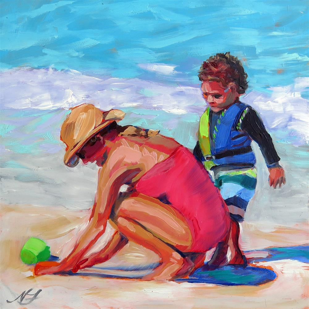 """Mother and Son in the Surf"" original fine art by Nancy Fairchild"