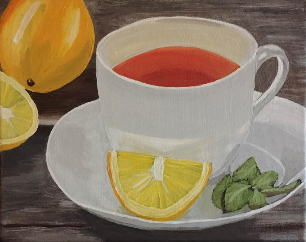 """Tea and Lemon"" original fine art by Helen Kuhn"