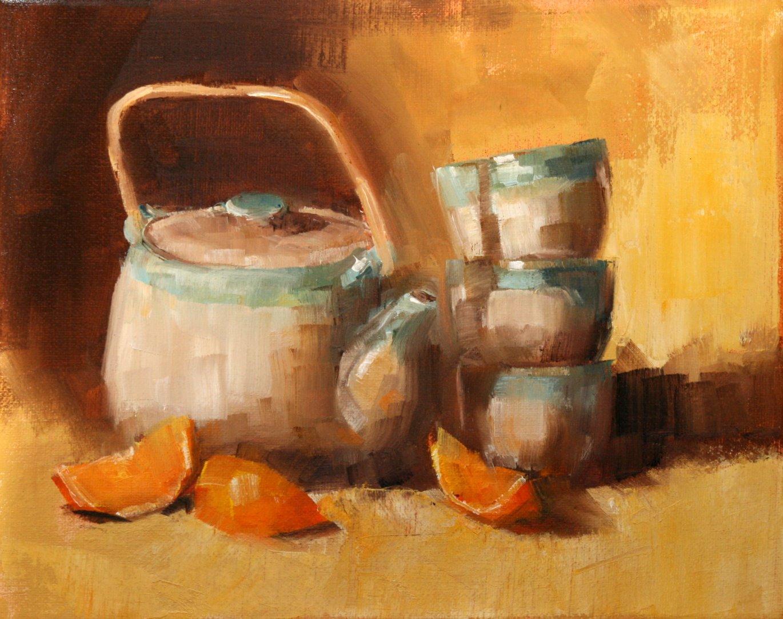 """new tea set"" original fine art by Carol Carmichael"