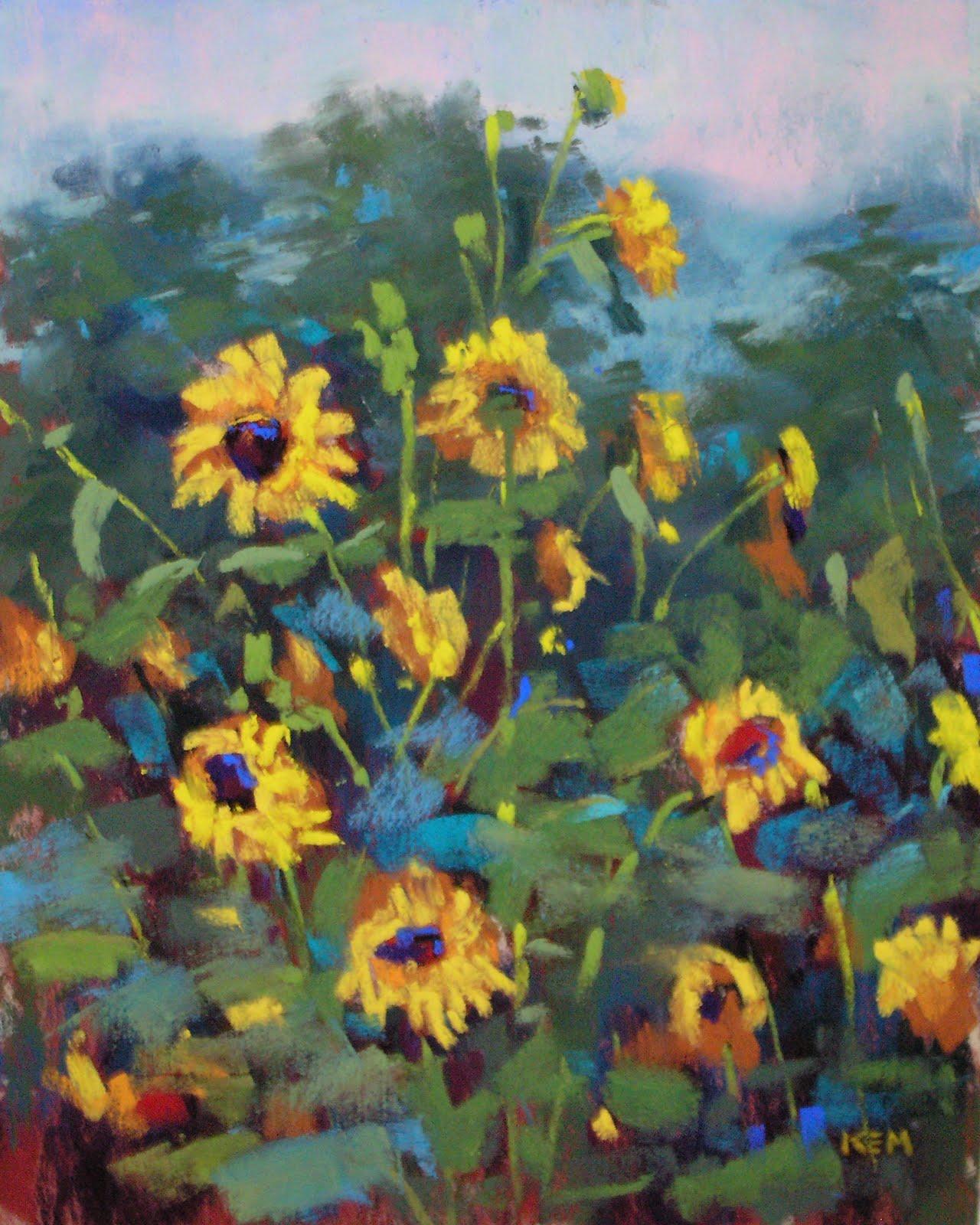 """The Sunflower Patch  8x10   pastel"" original fine art by Karen Margulis"