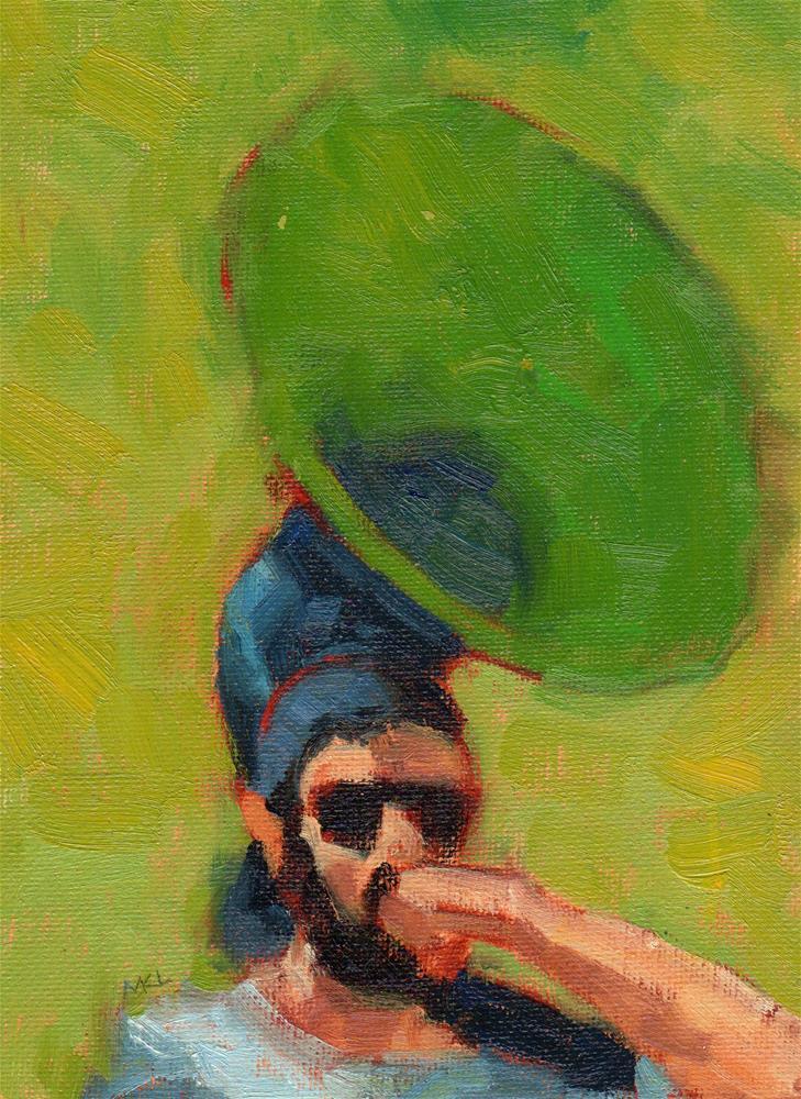 """Tuba Player"" original fine art by Marlene Lee"