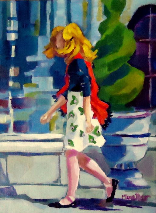 """Lipstick Check"" original fine art by Laurie Mueller"