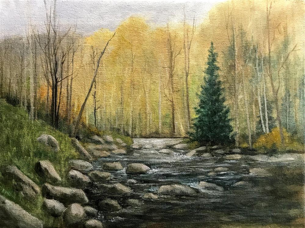 """lone pine beside the brook"" original fine art by Betty Argiros"