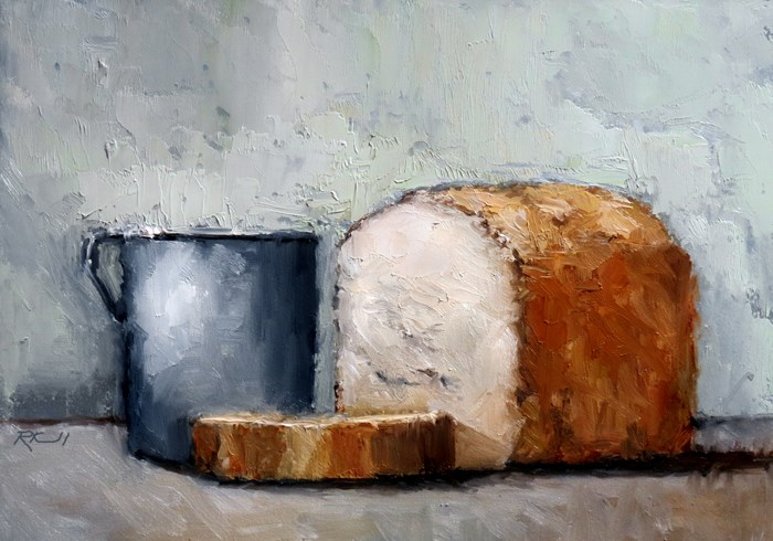 """Bread and Tin Cup"" original fine art by Bob Kimball"