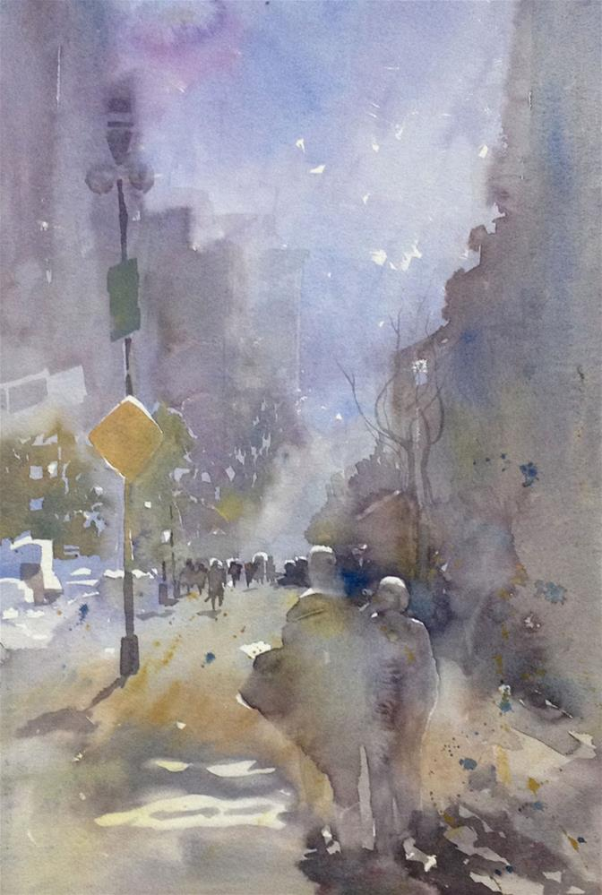 """Winter in Manhattan"" original fine art by Julie Crouch"