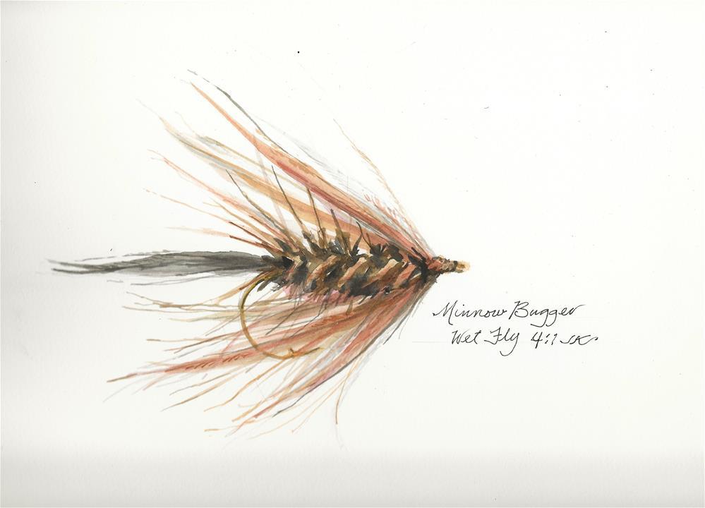 """""""Minnow Bugger Wet Fly"""" original fine art by Jean Krueger"""