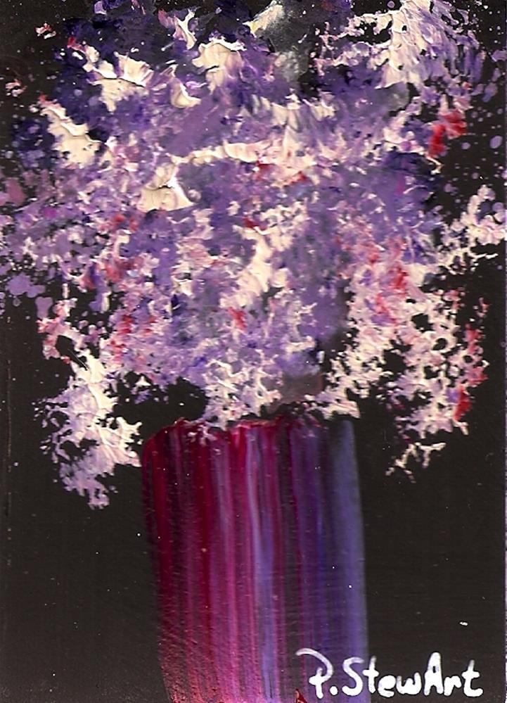 """""""ACEO Purples and Pinks Floral Bouquet in a Fuschia Vase, Lilacs, Heather"""" original fine art by Penny Lee StewArt"""