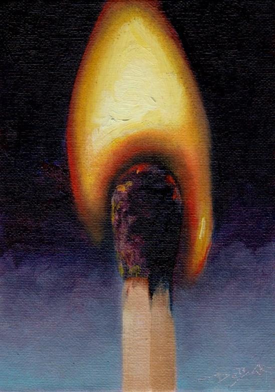 """""""lighted match"""" original fine art by Mark DeBak"""