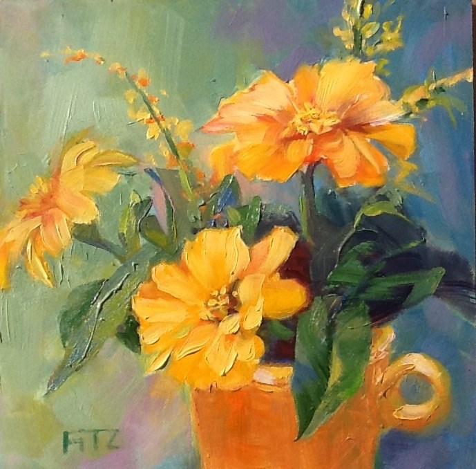 """Zinnias Revisited"" original fine art by Charlotte Fitzgerald"