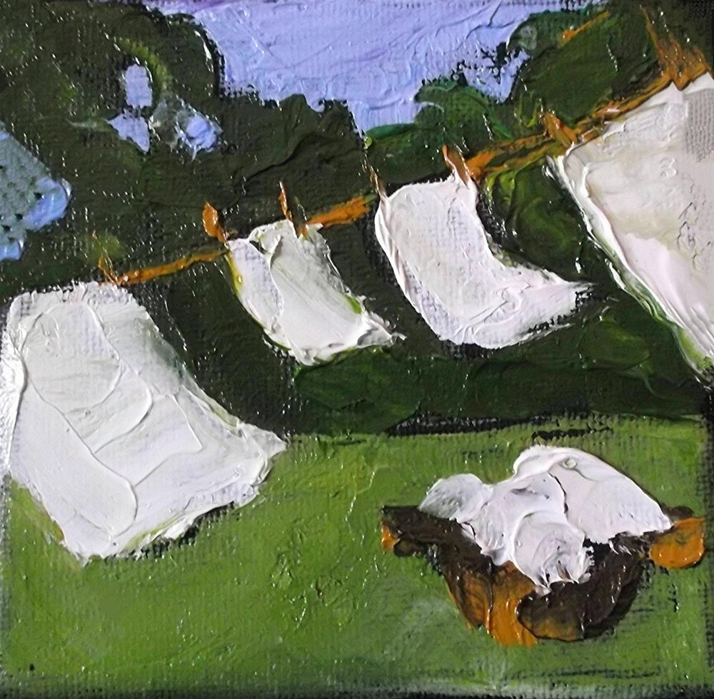 """Miniature Impressionist Painting 4x4 Backyard Clothesline Laundry Washday LANDSCAPE Lynne French Art"" original fine art by lynne french"