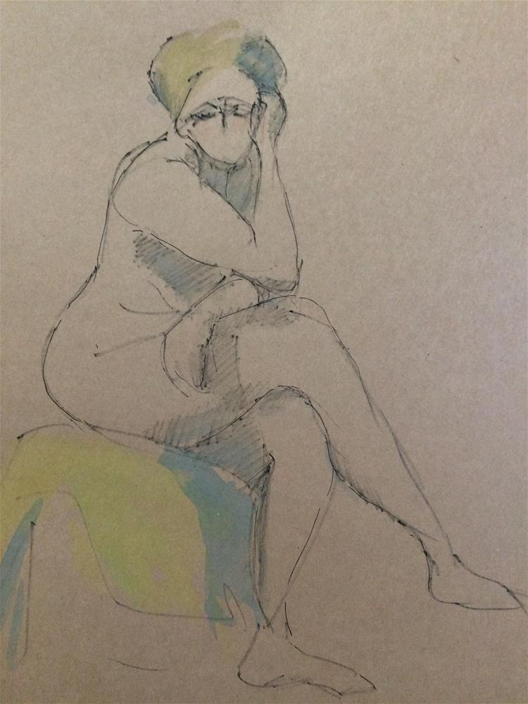 """Sitting Woman"" original fine art by Naomi Bautista"