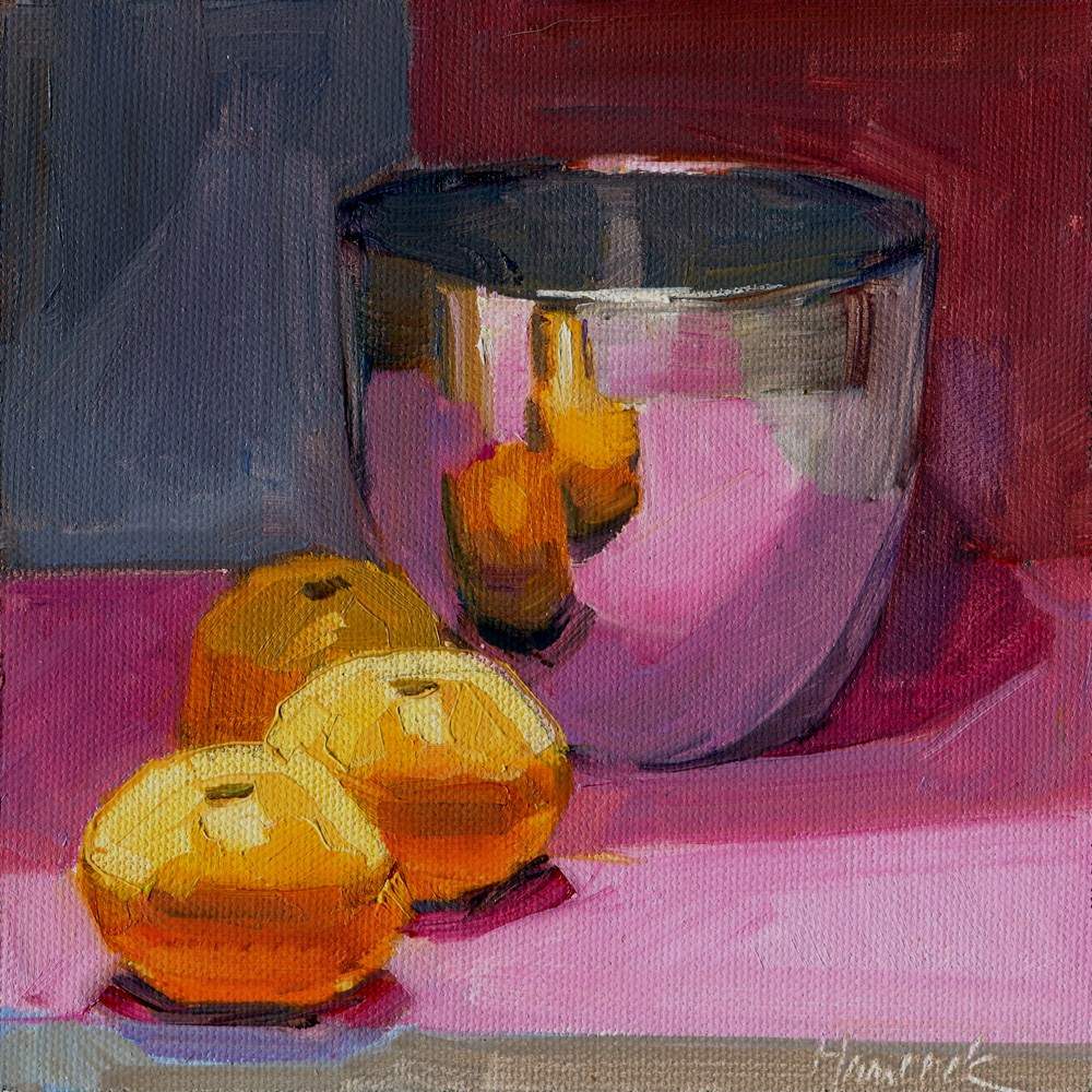 """Silver Bowl and Tangerines on Magenta and Gray"" original fine art by Gretchen Hancock"