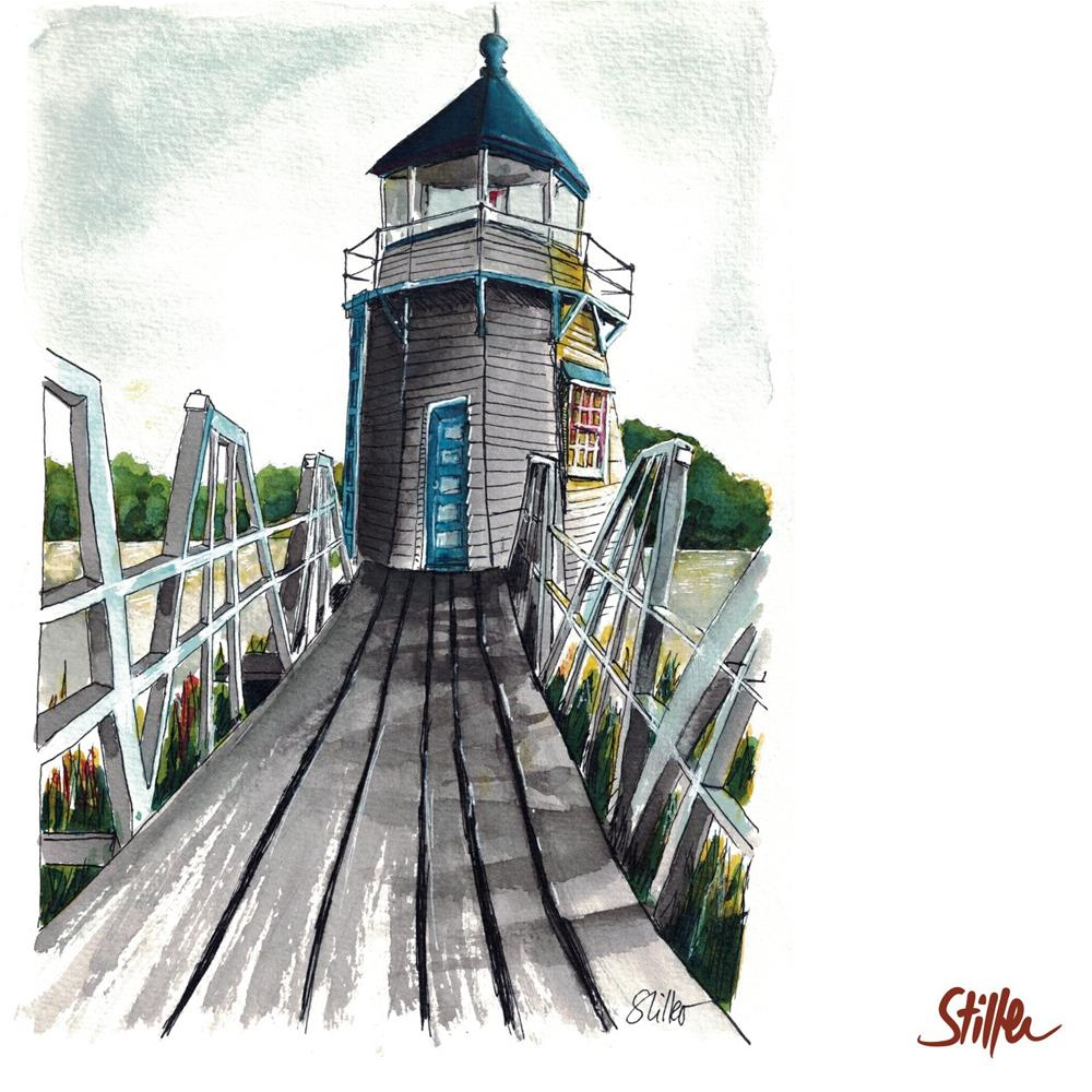 """3452 Doubling Point Lighthouse"" original fine art by Dietmar Stiller"