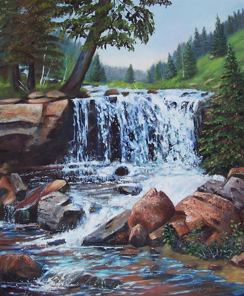 """""""Colorado Waterfall"""" original fine art by Donna Munsch"""