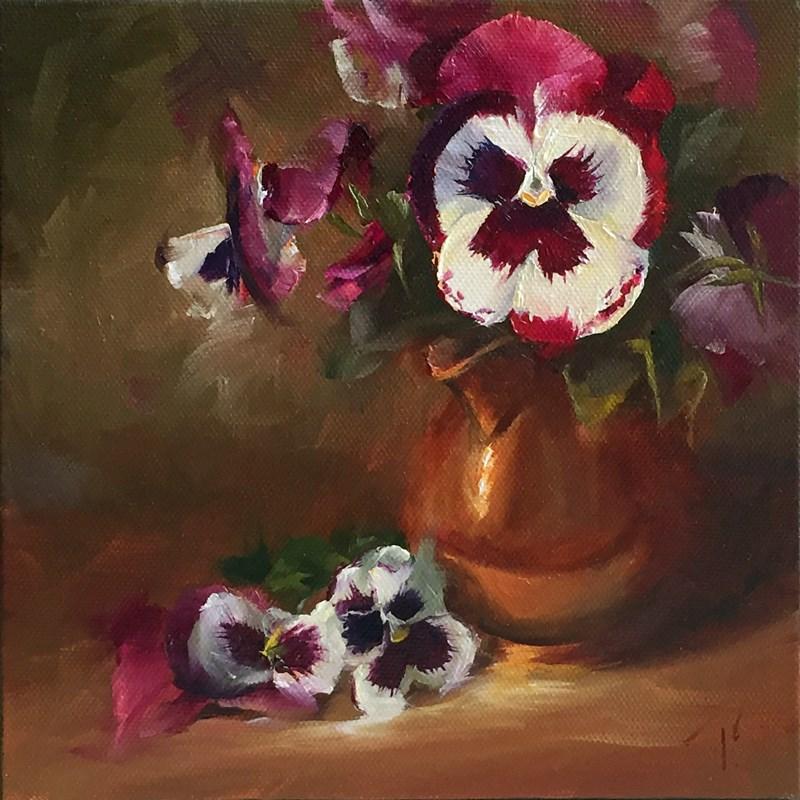 """""""Study of Pansies in Low Key"""" original fine art by Lori Twiggs"""
