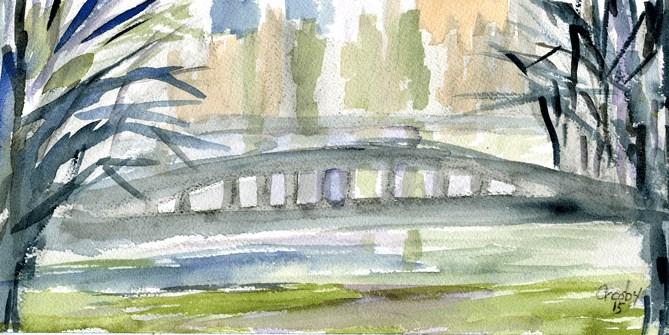 """Fog Over Barton Springs"" original fine art by Donna Crosby"