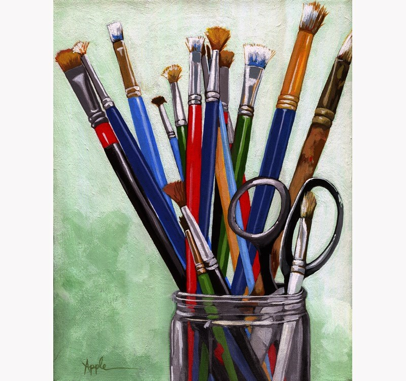 """""""Artists Brushes - realistic still life painting by Linda Apple"""" original fine art by Linda Apple"""