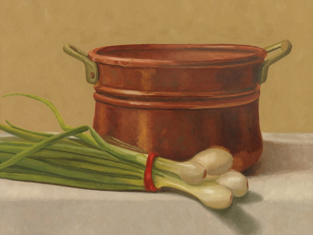 """Copper Pot and Green Onions"" original fine art by Susan Fern"