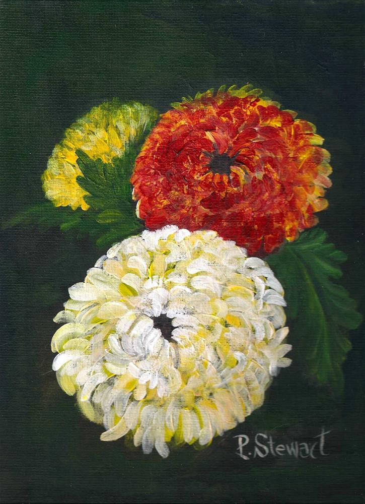 """""""9x12, Acrylic Floral Painting, 3 mums, Realistic Style"""" original fine art by Penny Lee StewArt"""