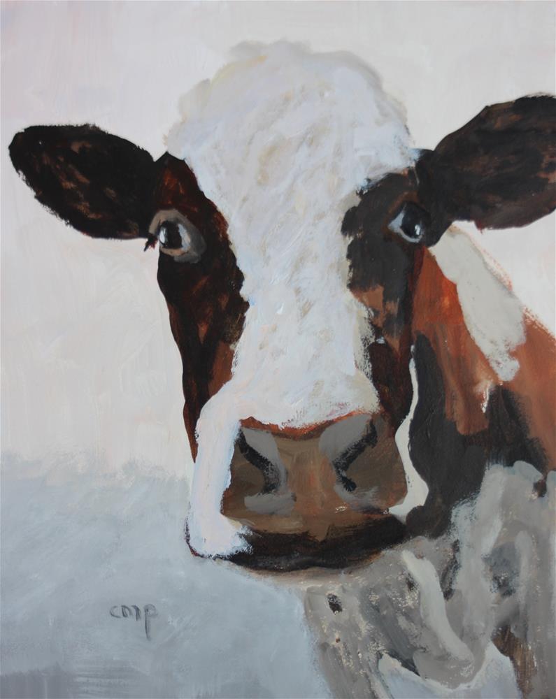 """Cow Painting"" original fine art by Christine Parker"