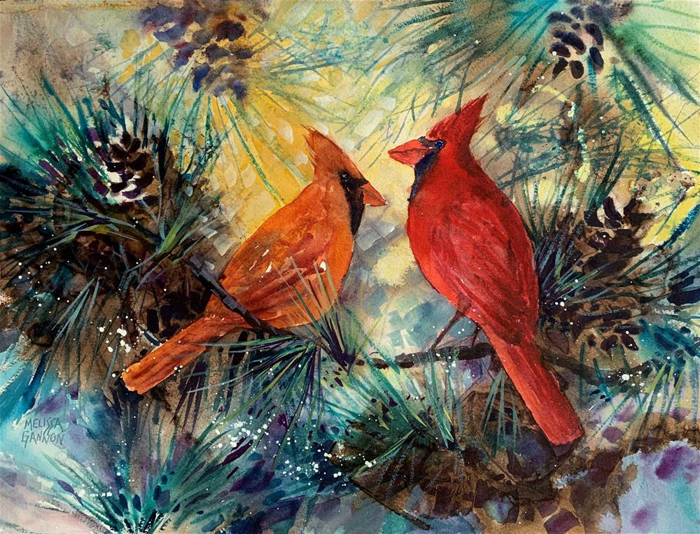 """Cardinal Pair"" original fine art by Melissa Gannon"