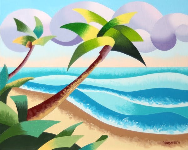 """Mark Webster - Abstract Geometric Palm Trees on the Beach Seascape - Landscape Oil Painting"" original fine art by Mark Webster"