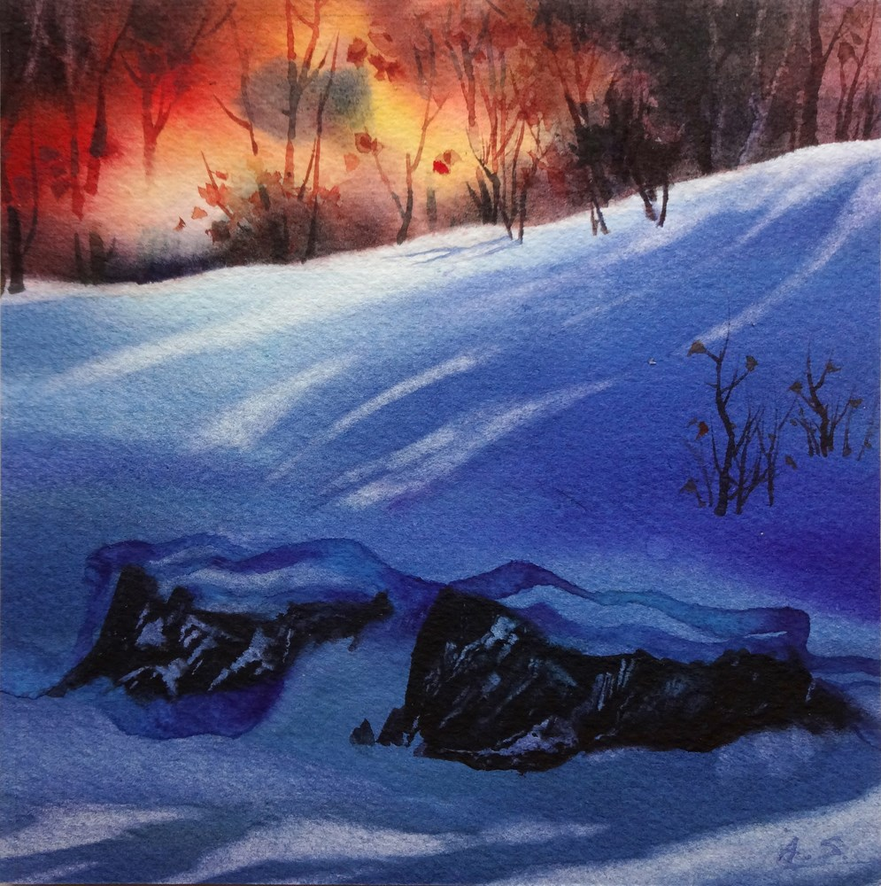 """Sudden Snow"" original fine art by Arena Shawn"