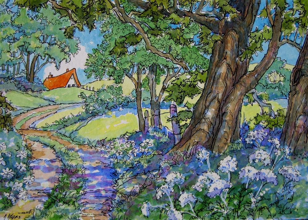 """""""At the End of the Lane Storybook Cottage Series"""" original fine art by Alida Akers"""
