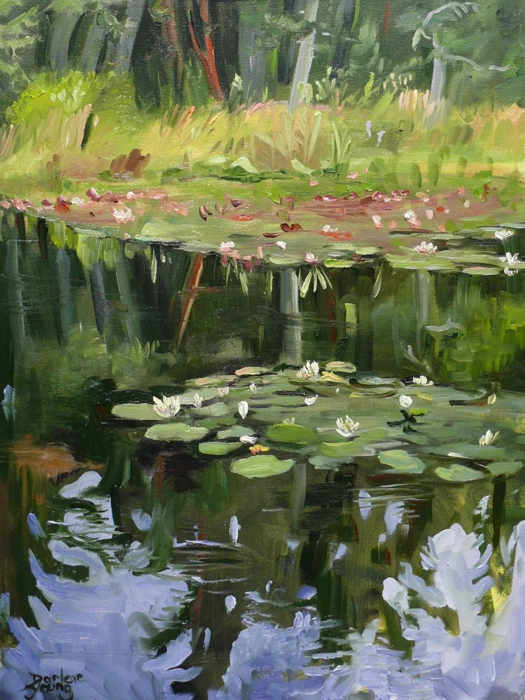 """Water Lilies Beaver Lake Ponds"" original fine art by Darlene Young"
