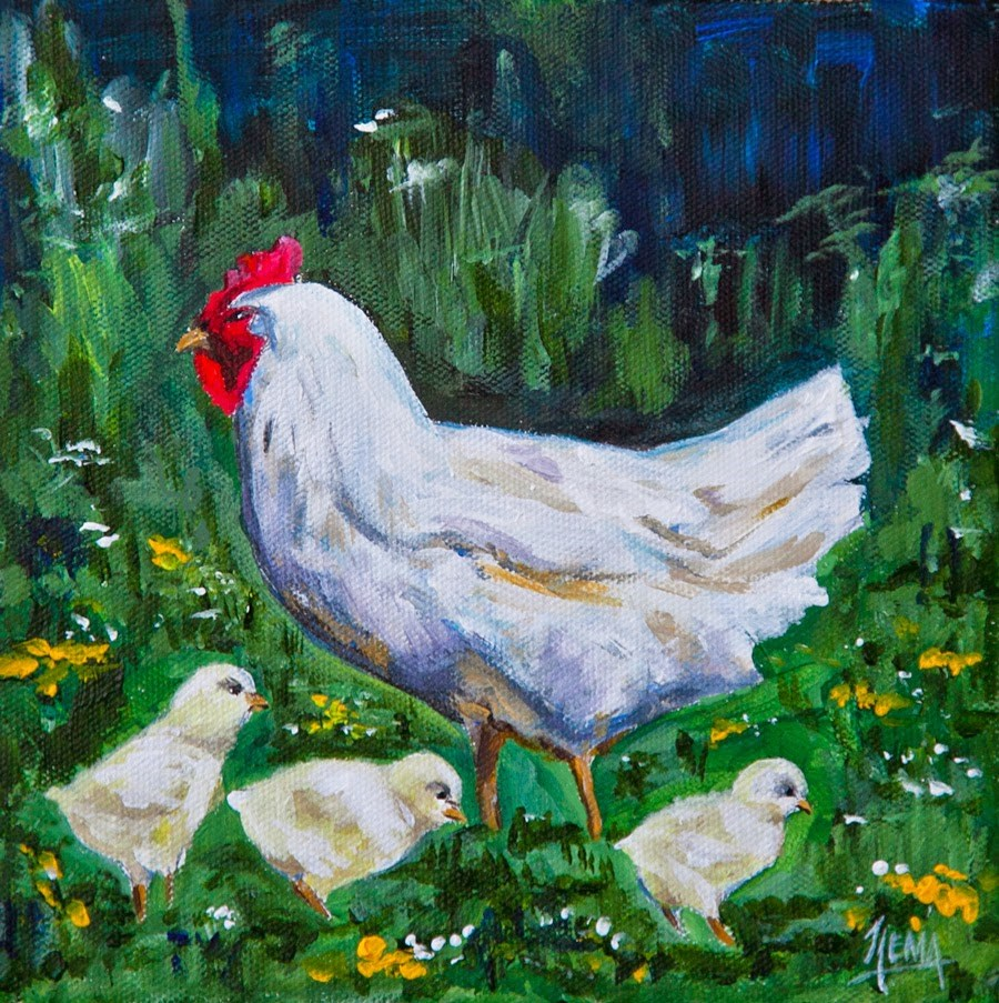 """Spring Chickens"" original fine art by Hema Sukumar"