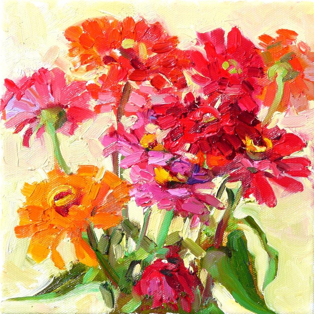 """Garden Zinnias,still life,oil painting,6x6,price$275"" original fine art by Joy Olney"