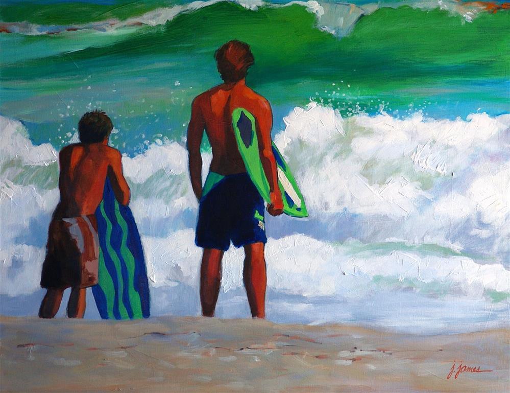 """Surf Guys"" original fine art by Jini James"