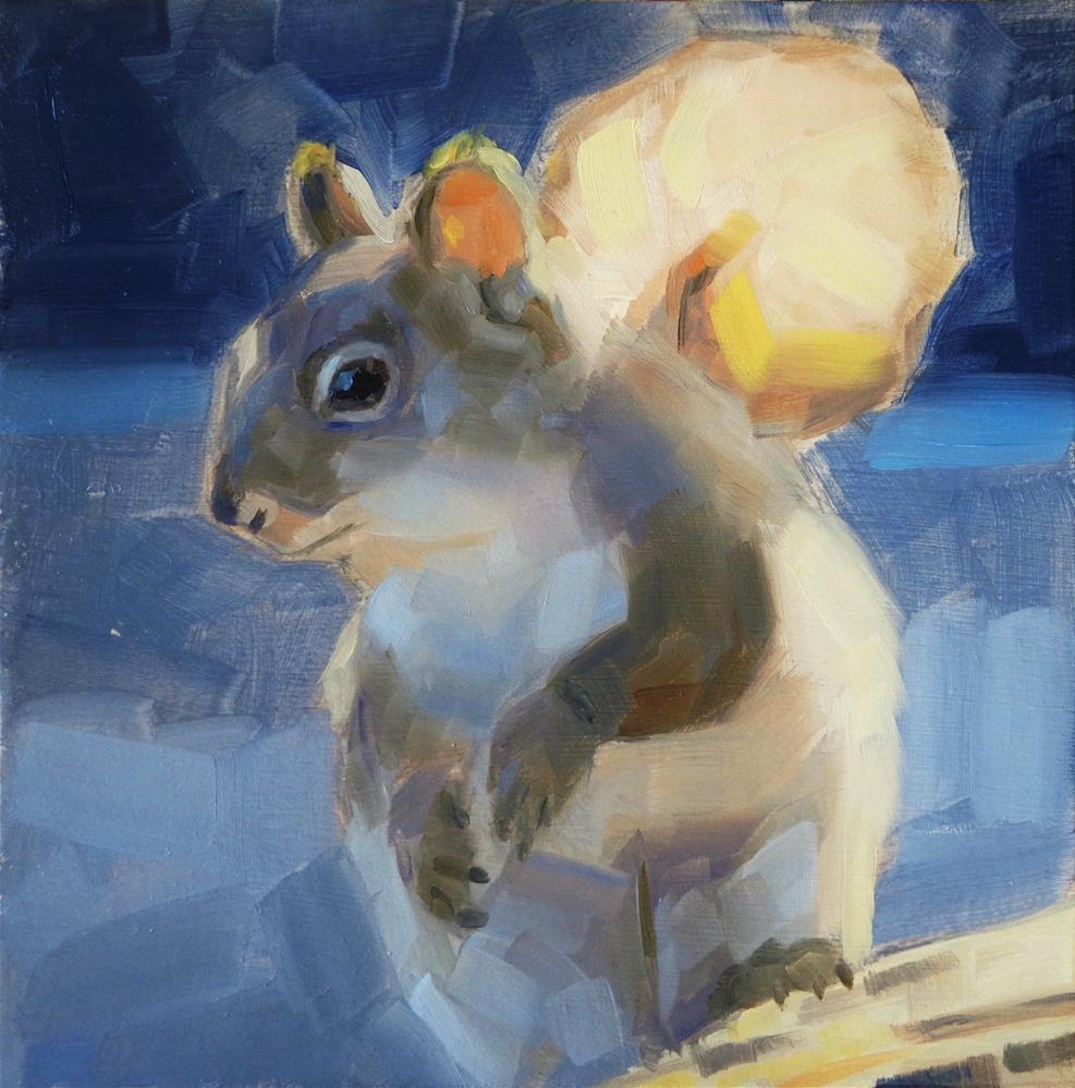 """Grey squirrel"" original fine art by Maria Z."