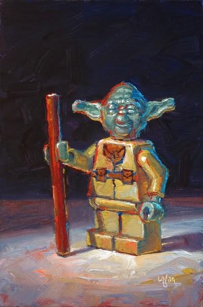 """LEGO Star Wars Yoda"" original fine art by Raymond Logan"