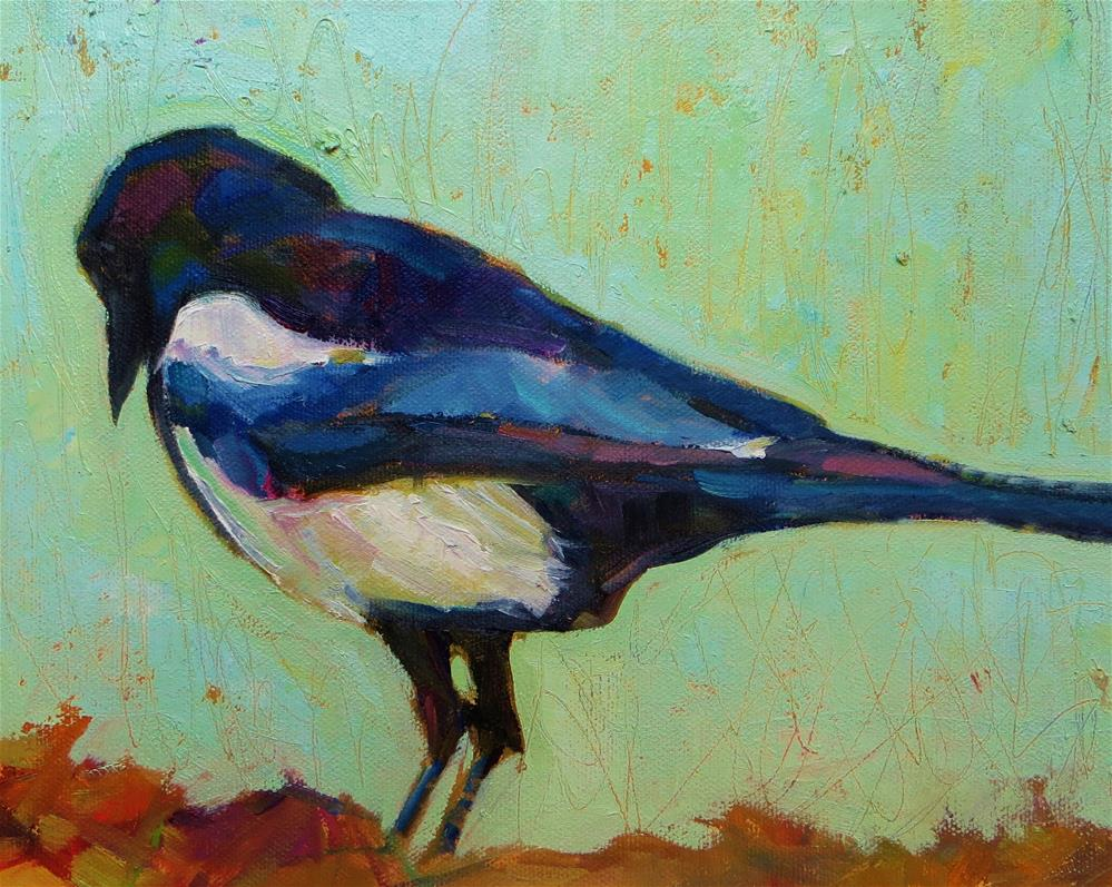 """""""Minty Magpie"""" original fine art by Scarlet Owl Studio"""