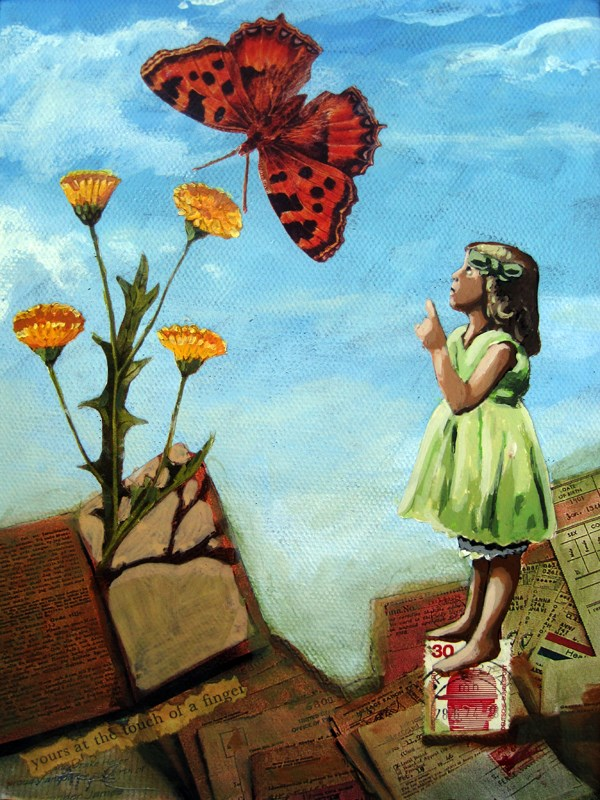 """""""Transformation - Butterfly & Little Girl vintage mixed media painting"""" original fine art by Linda Apple"""