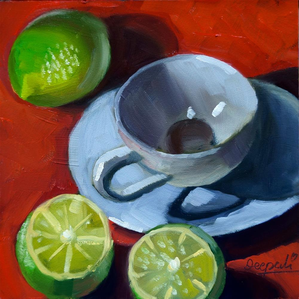 """Limes and teacup"" original fine art by Dipali Rabadiya"