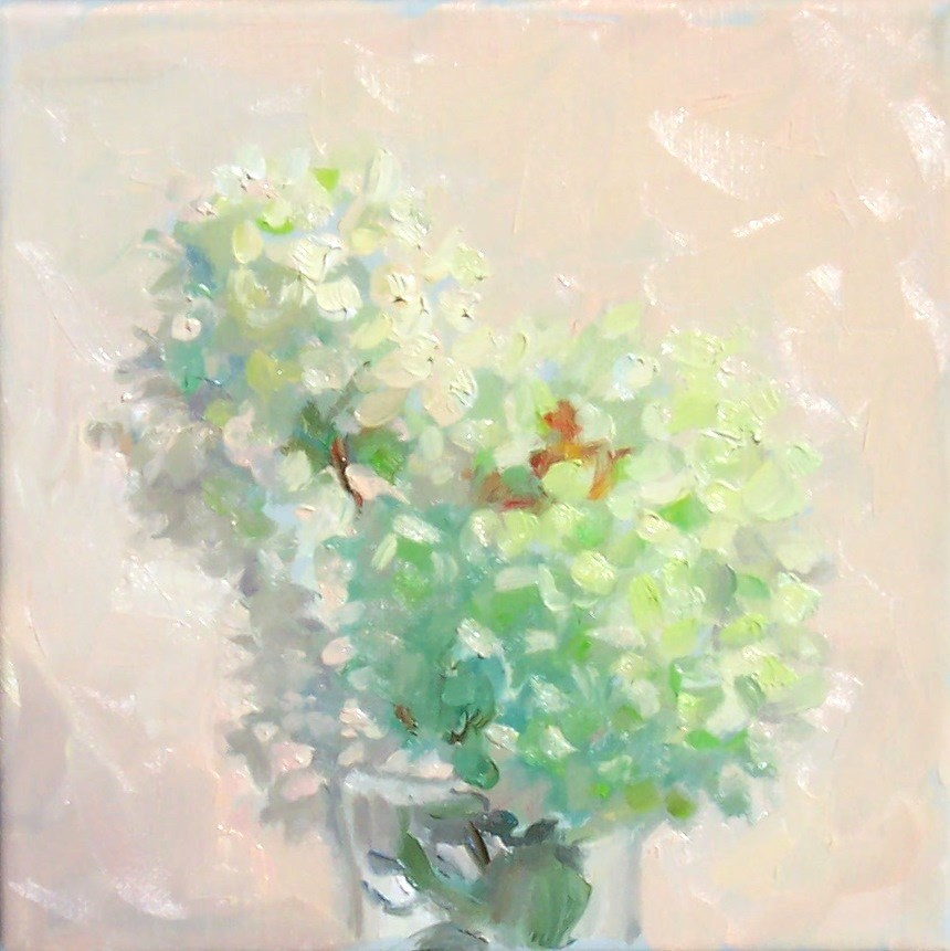 """Charteuse Hydrangeas,still life,oil on canvas,8x8,price$300"" original fine art by Joy Olney"