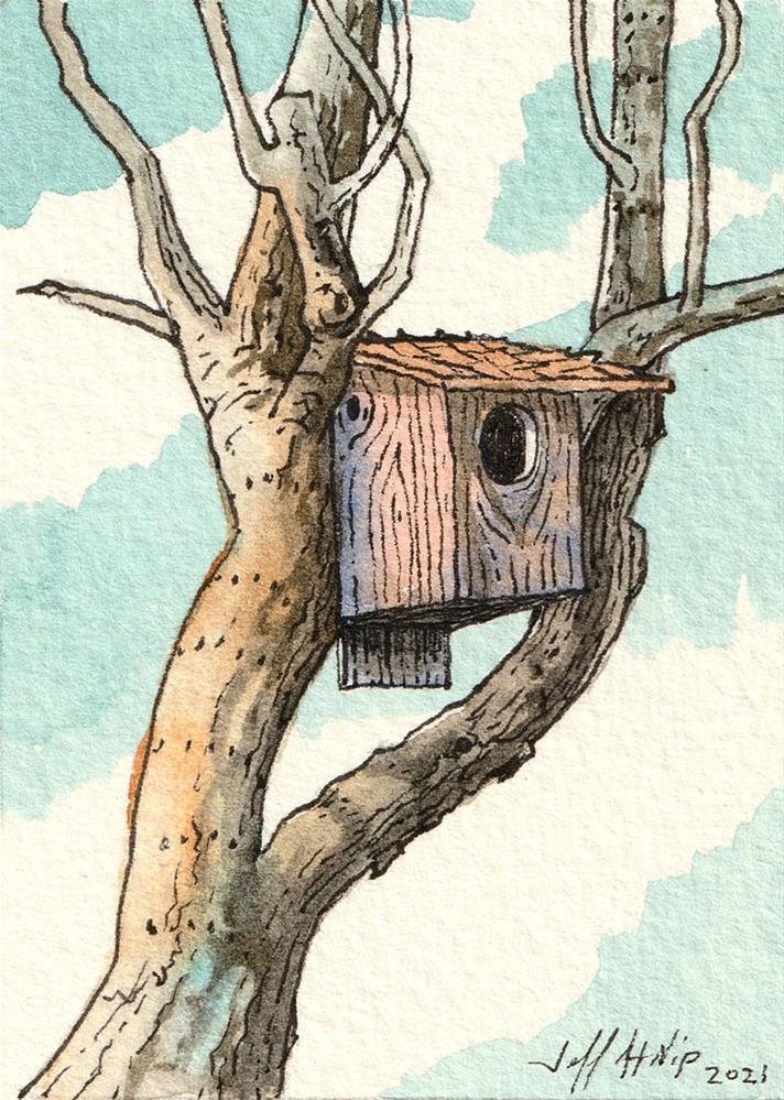 """Birdhouse in Apple Tree"" original fine art by Jeff Atnip"