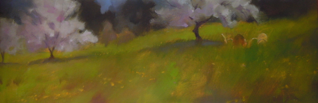 """""""Apple Blossoms and Garden Chairs  oil landscape painting"""" original fine art by Robin Weiss"""