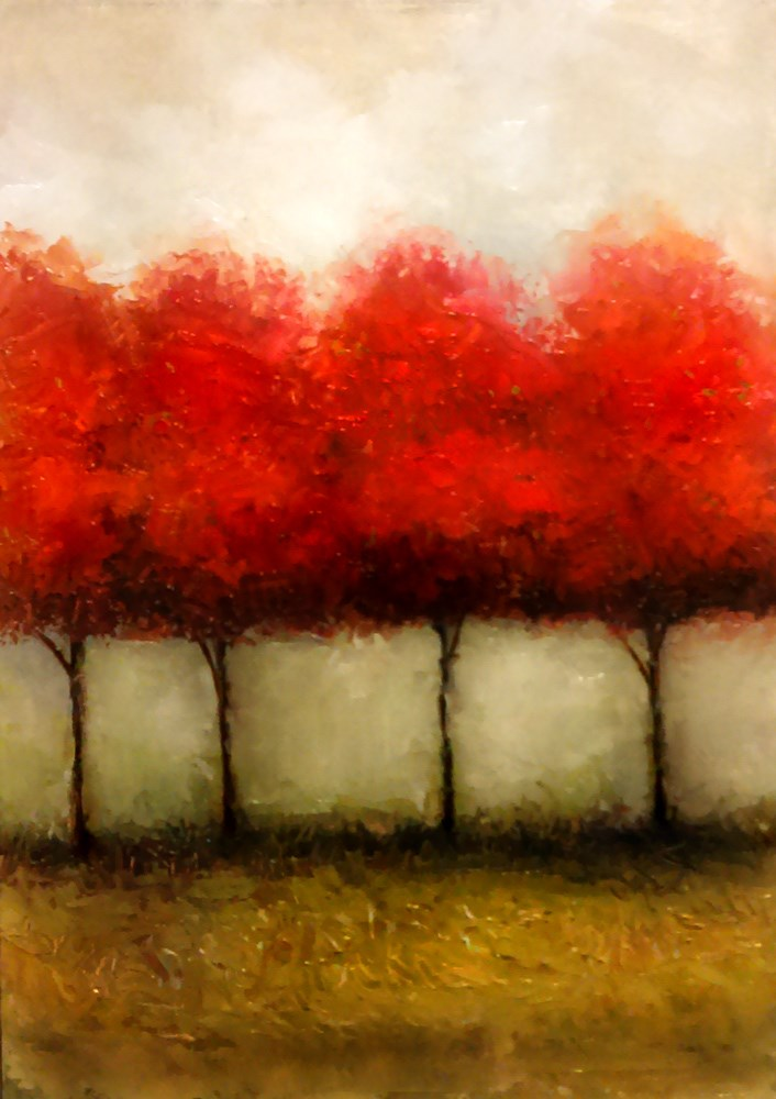 """""""Four Red Trees"""" original fine art by Bob Kimball"""