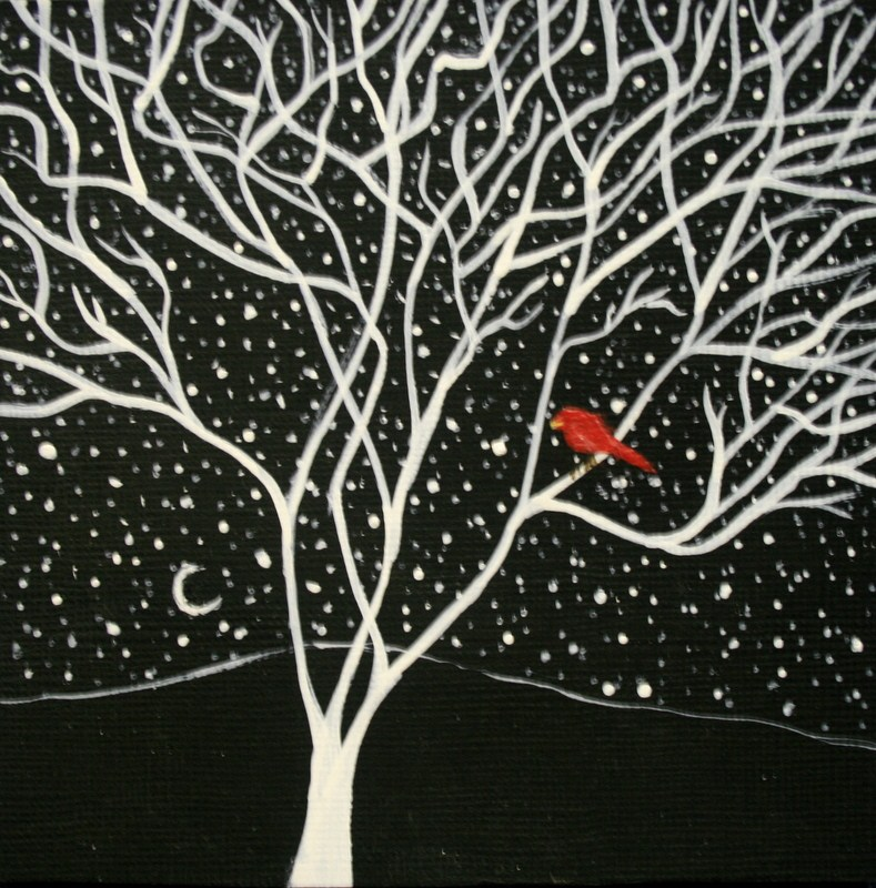 """""""Red Bird and the New Moon"""" original fine art by Jean Nelson"""