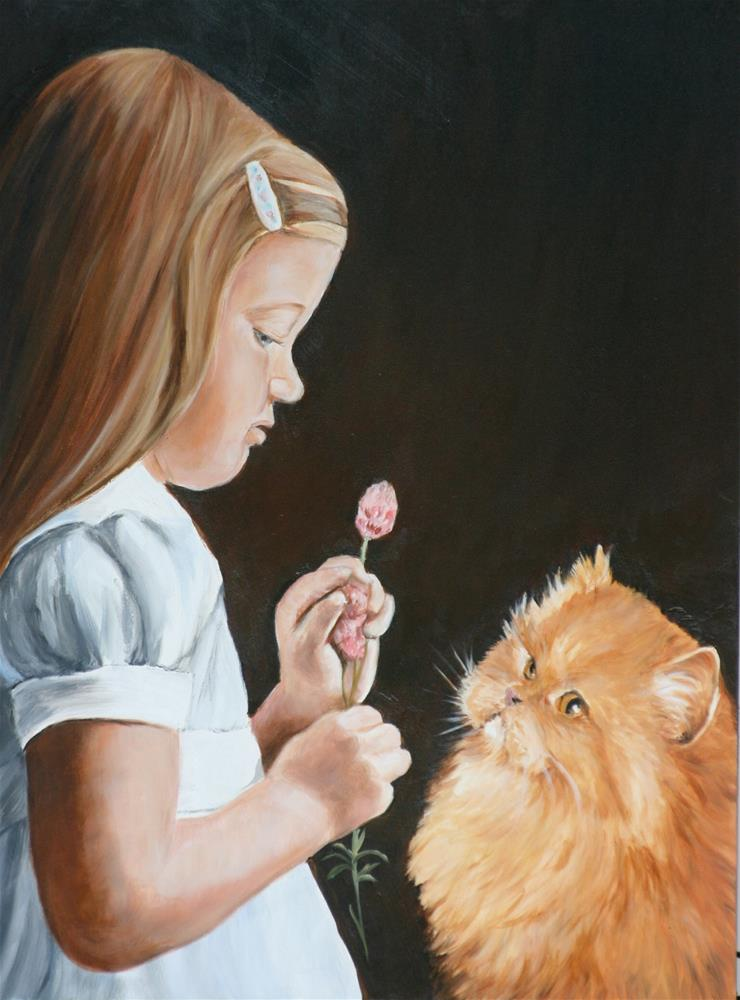 """""""Girl and Persian  Cat"""" original fine art by Charlotte Yealey"""