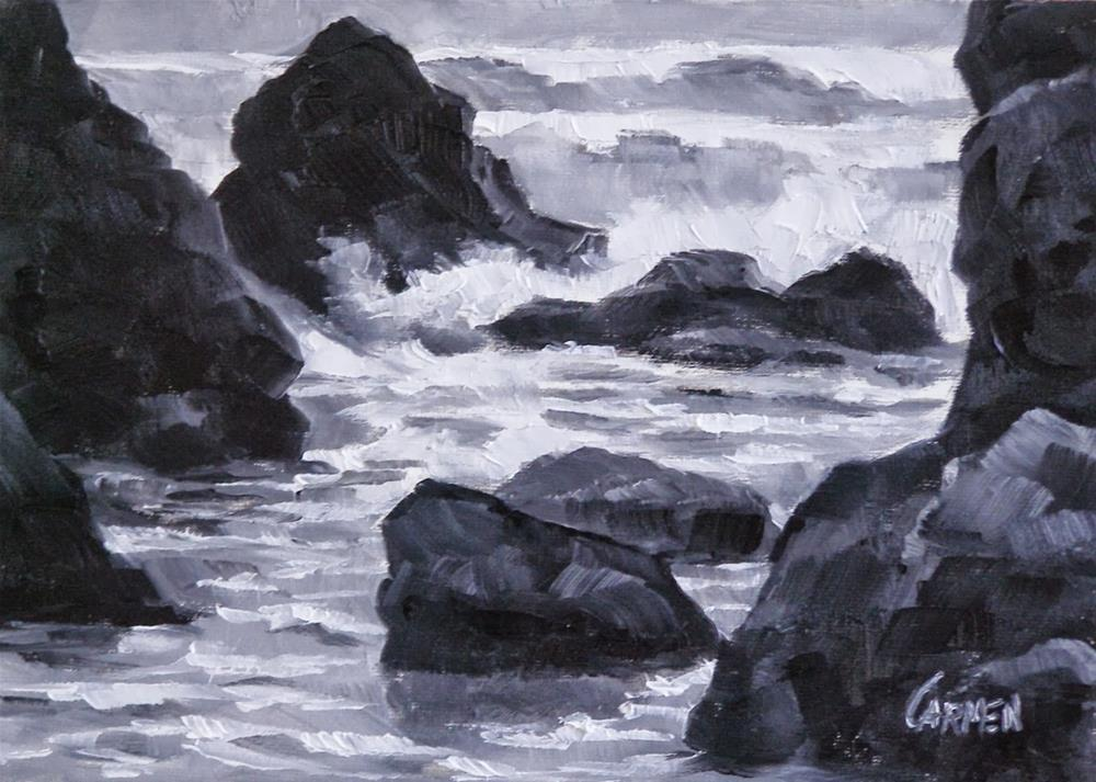 """Ruby Beach in Black and White, 7x5 Oil on Canvas"" original fine art by Carmen Beecher"