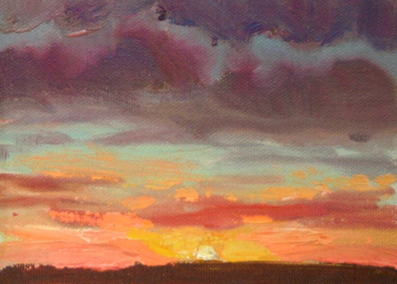 """Sunset in Orange and Purple"" original fine art by K.R. McCain"