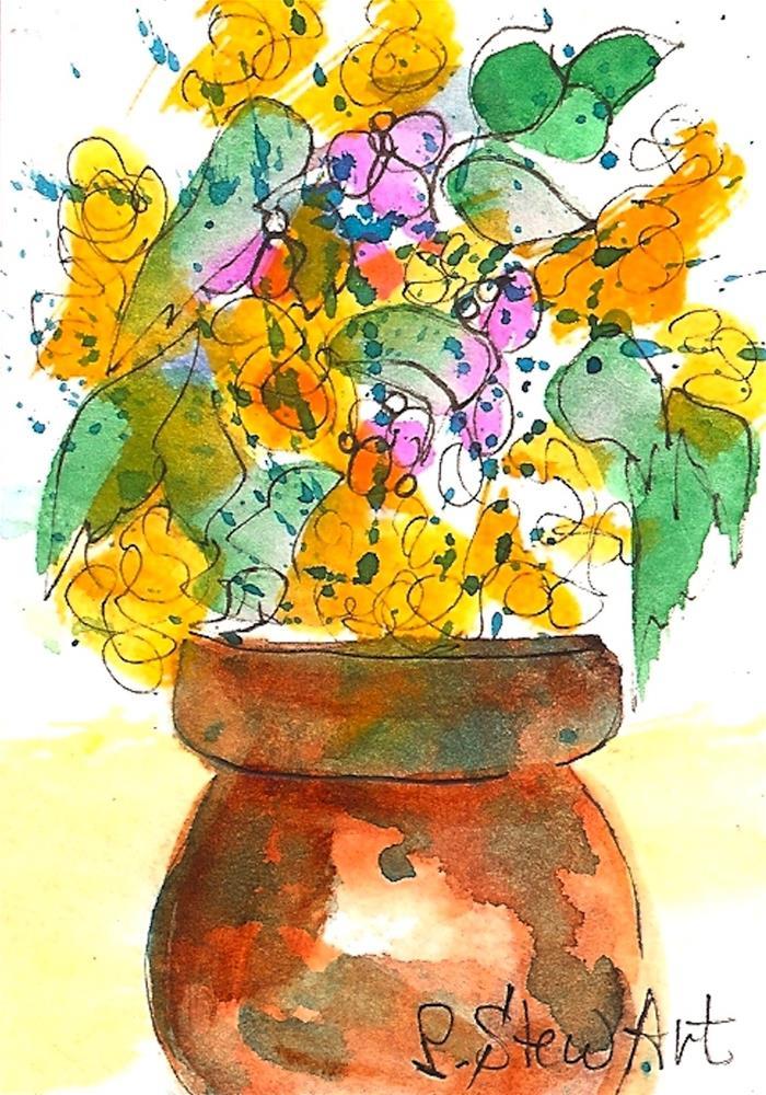 """ACEO, Copper Pot filled w/Spring Flowers Loose Watercolor Original Art OOAK"" original fine art by Penny Lee StewArt"