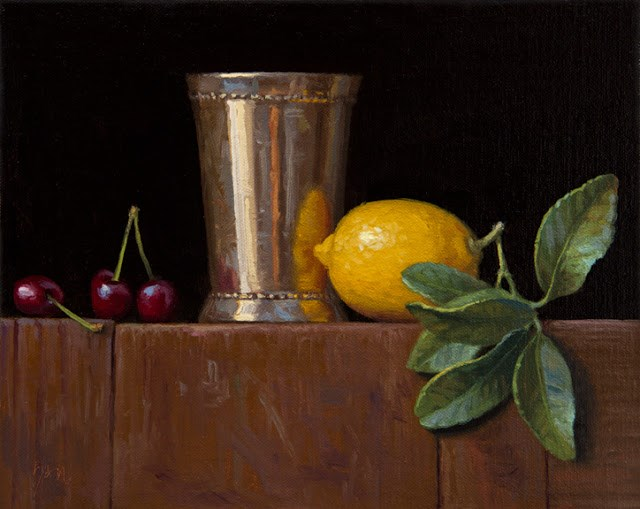 """""""Silver Cup, Cherries, and Lemon with Leaves (larger painting)  (+ Apple ending soon)"""" original fine art by Abbey Ryan"""